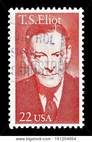 USA - CIRCA 1986 : Cancelled stamp printed by USA, that shows Eliot.