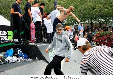 Stockholm aug 21 2016 - Stockolm youth sport fest and Boys Skateboarding Jump Lifestyle Hipster Concept