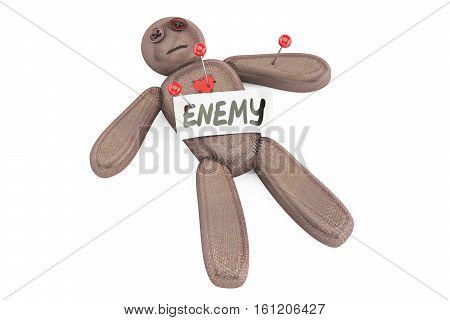 Enemy voodoo doll with needles 3D rendering