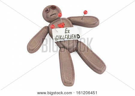 Ex-girlfriend voodoo doll with needles 3D rendering isolated on white background
