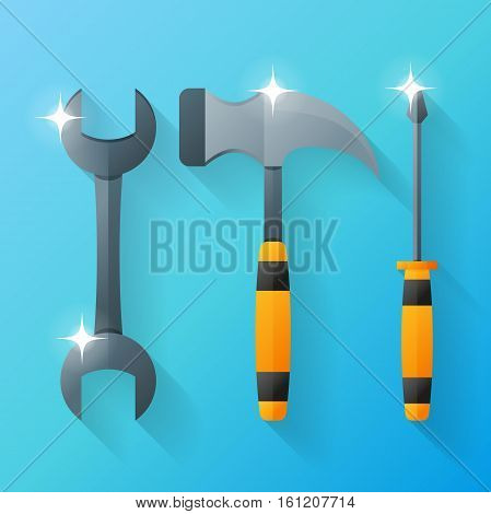 Tool set: wrench, screwdriver and hammer. Vector design template