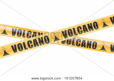 Volcano Caution Barrier Tapes 3D rendering isolated on white background