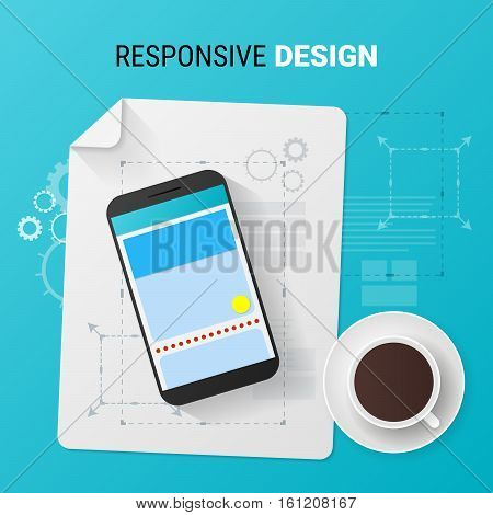Adaptive design concept. Responsive design of phone user interface. Material design