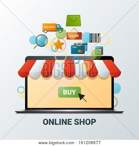 Vector illustration of laptop with online shop icons. Internet shopping. Set of flat design concept icons for web and mobile phone services and apps. Icons for mobile marketing and online shopping