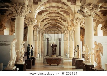 PARIS, FRANCE - MAY 13: Louvre museum interior on May 13, 2015 in Paris. With over 60k sqM of exhibition space, Louvre is the biggest Museum in Paris.