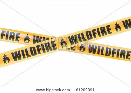 Wildfire Caution Barrier Tapes 3D rendering isolated on white background