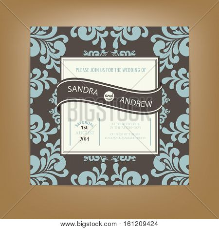 Wedding invitation or announcement card with vintage background artwork.Vector illustration