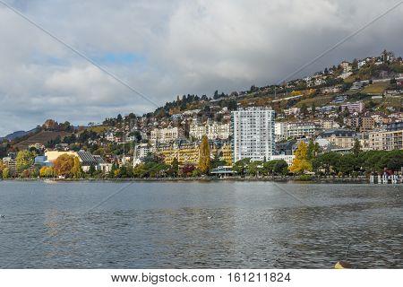 MONTREUX, SWITZERLAND - 29 OCTOBER 2015 : Embankment of  Montreux and Alps, canton of Vaud, Switzerland