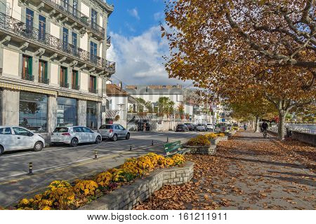 VEVEY, SWITZERLAND - 29 OCTOBER 2015 : Landscape of Embankment, Vevey, canton of Vaud, Switzerland
