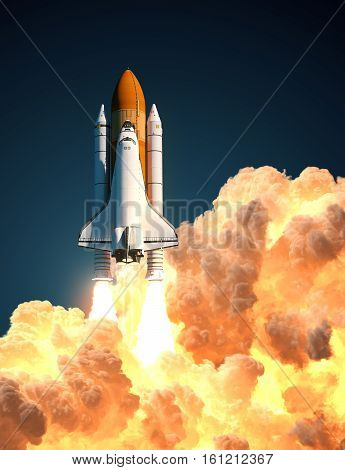 Space Shuttle In The Clouds Of Fire. 3D Illustration. poster
