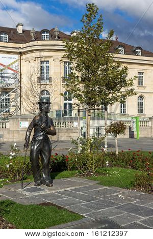 VEVEY, SWITZERLAND - 29 OCTOBER 2015 : Charlie Chaplin monument in town of Vevey, canton of Vaud, Switzerland