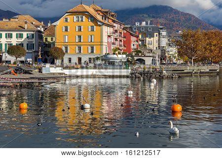 VEVEY, SWITZERLAND - 29 OCTOBER 2015 : Panorama of Vevey, canton of Vaud, Switzerland