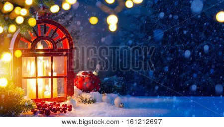 Christmas background with decorations and Snow Christmas Tree