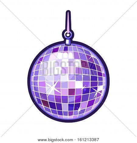 Colorful Disco ball illustrations isolated on white background. Disco icons . Retro party emblems. Disco styles.
