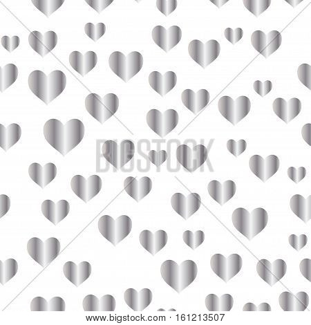 Silver seamless pattern, romantic silver background with hearts, love style  illustration, wedding or valentine day foil design