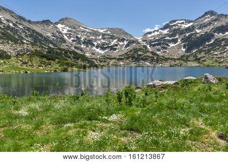 Amazing view of Demirkapiyski chukar and Dzhano peaks, Popovo lake, Pirin Mountain, Bulgaria