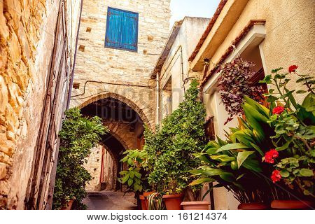 Cozy narrow street in Pano Lefkara village. Limassol District Cyprus.