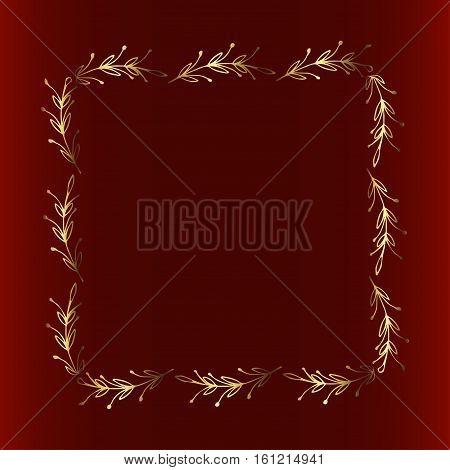 Gold floral frame, nature style design elements, decorative golden hand drawn flowers illustration