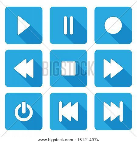 flat style multimedia  icons for web and mobile application - vector