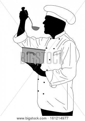 kitchen chef tasting soup - vector