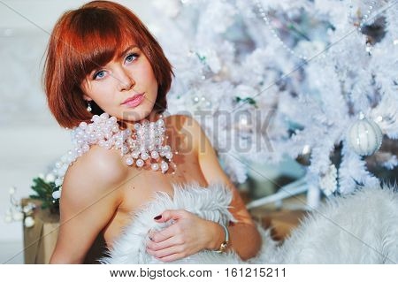 Tender Portrait Of Sensual Pretty Woman With Bright Brown Hair Posing At Home About White Artificial