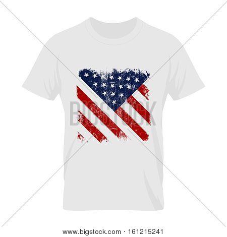 Vintage United States of America flag tee print vector design. Grunge Stars and Stripes U.S. illustration.Premium quality USA national symbolics t-shirt emblem and logo concept mock up.