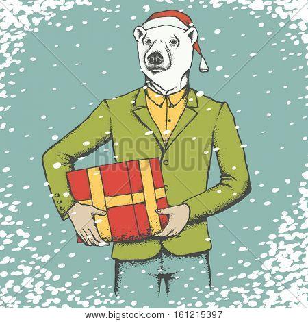 White Polar bear in Santa hat. Christmas white polar bear vector illustration