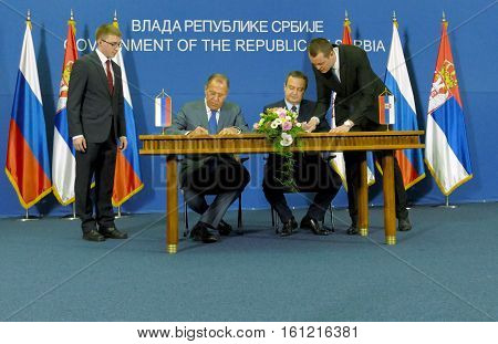 Belgrade, Serbia. December 12Th 2016: Signing Agreement And Joint Press Conference Of Russian And Se