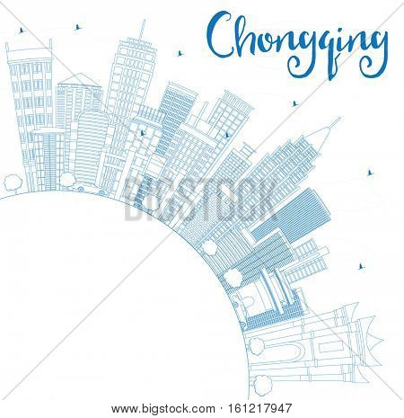 Outline Chongqing Skyline with Blue Buildings and Copy Space. Business Travel and Tourism Concept with Modern Architecture. Image for Presentation Banner Placard and Web.