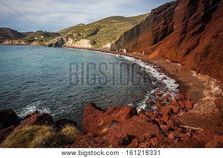 Unusual And Unique Red Beach On Santorini, Greece