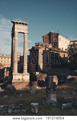Marcelloâ??s Theatre with historical ruins in Rome, Italy