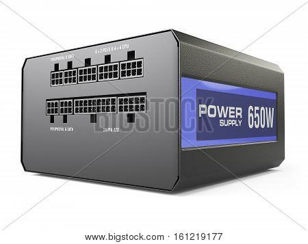computer black power supply isolated on white background. 3d illustration