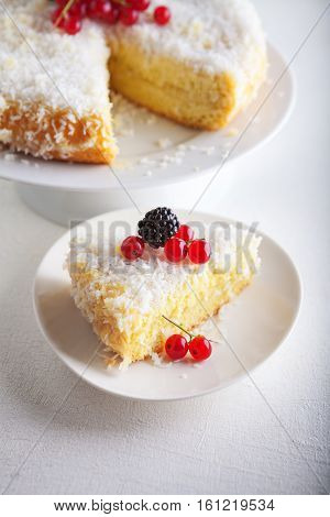 Piece of Homemade coconut cake on a white plate.