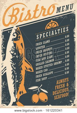 Bistro restaurant menu design template with fish drawing and olives. Creative seafood poster concept on dark blue background.