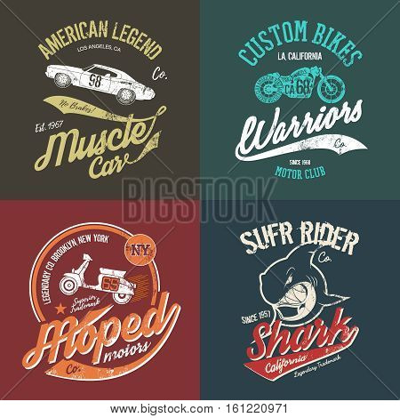 Vintage American muscle car and custom motorcycle motor club grunge t-shirt tee print vector artwork illustration set. Retro wild shark t-shirt logo concept. NY Brooklyn moped handmade t-shirt emblem.