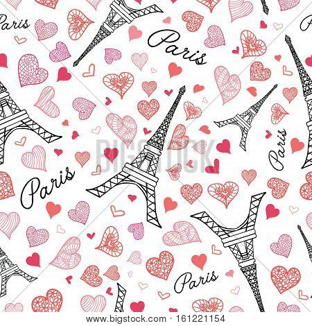 Unique Vector Eifel Tower Paris Seamless Repeat Pattern Bursting With St Valentines Day Pink Red Hearts Of Love. Perfect for travel themed postcards, greeting cards, wedding invitations.