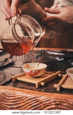 Chinese tea ceremony is performed by tea master