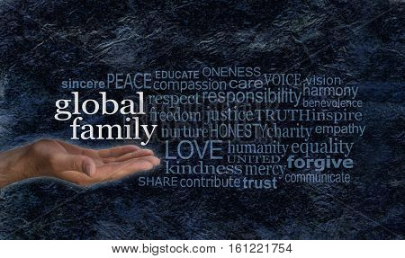 Global Family word cloud campaign banner - female hand palm up with white words GLOBAL FAMILY floating above surrounded by a relevant word cloud on a blue black rough rock effect background