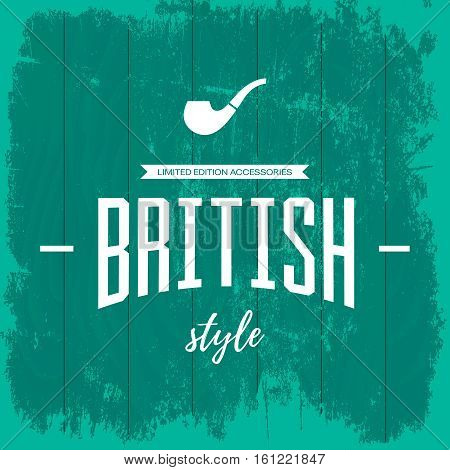 Vintage british style logo concept isolated on blue wooden background. Web infographic smoking pipe accessories pictogram. Premium quality threadbare wood texture illustration mockup.