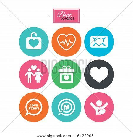 Love, valentine day icons. Target with heart, oath letter and locker symbols. Couple lovers, heartbeat signs. Colorful flat buttons with icons. Vector