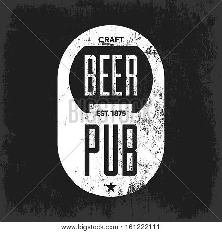 Craft beer pub logo concept isolated on dark background. Beer bottle opener silhouette. Brew pub sign vector illustration. Simple mono craft beer icon infographic pictogram.