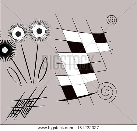 Abstract background of flowers, checkerboard patterns and other things