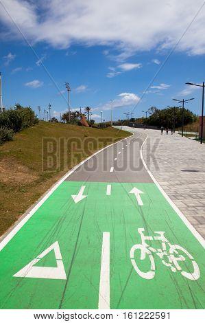 Bike lane Bicycle lanes at Barcelona coastline