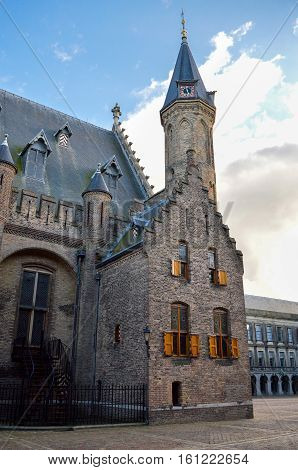 Den Haag, The Netherlands -september 19, 2015: Side View Of The Binnenhof Building