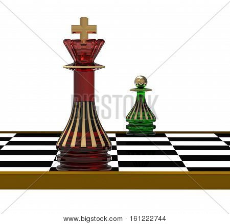 King and Pawn on Chessboard 3D Render