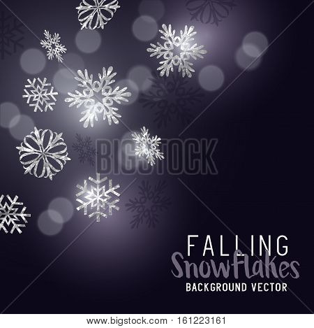 Silver glittering winter snowflakes - decoration background. Vector illustration.