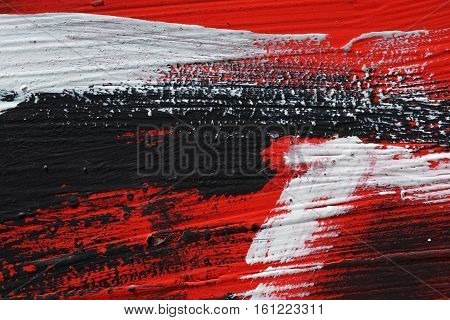 Black, White, Red Acrylic Paint  On Metal Surface. Brushstroke 6