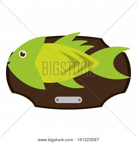 Fish animal cartoon over table icon. Sea life ecosystem fauna and ocean theme. Isolated design. Vector illustration
