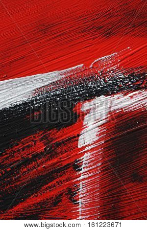 Black, White, Red Acrylic Paint  On Metal Surface. Brushstroke 3