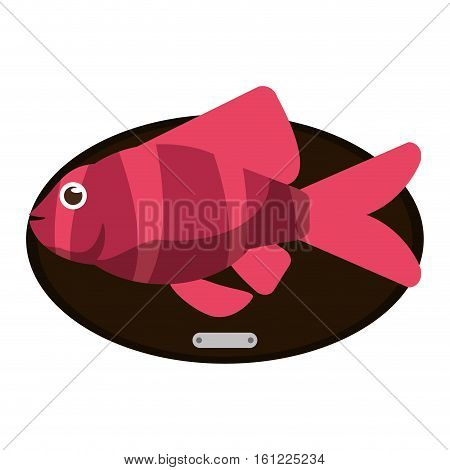 Fish animal cartoon over table icon. Sea life ecosystem fauna and ocean theme. Isolated design. Vector illustration